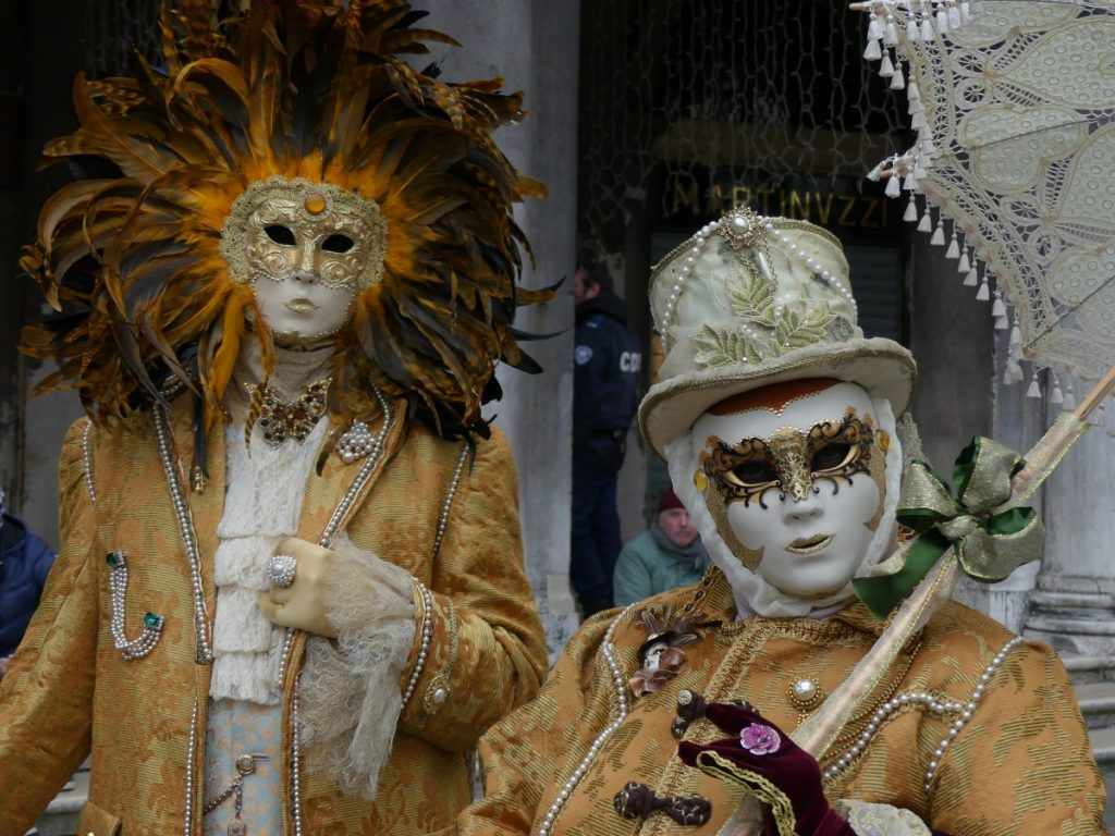 Beautiful costumes of the carnival in Venice