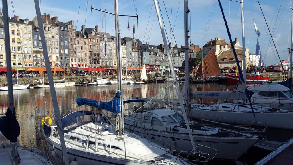 the old harbor in the quaint town of Honfleur
