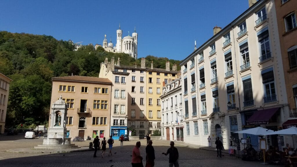 walking around vieux lyon with views of the La Basilique Notre Dame de Fourvière
