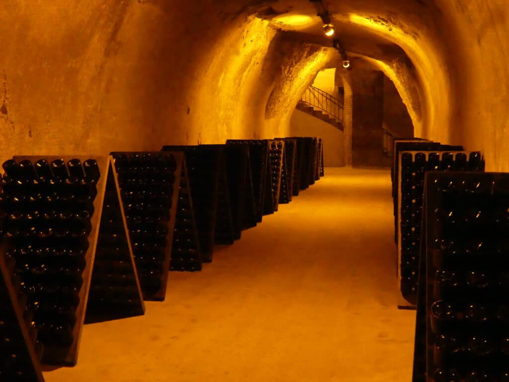 Historic underground tunnels for storing champagne at well renowned champagne houses in Reims