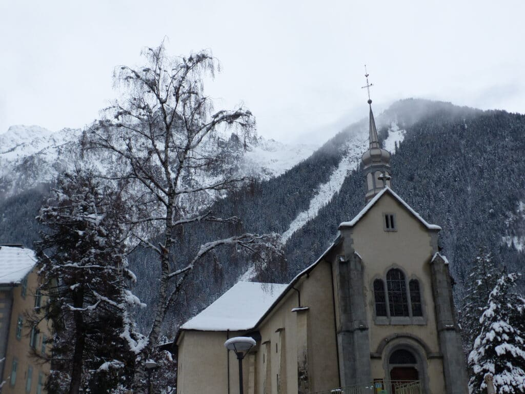 the town of chamonix on a snowy winter day