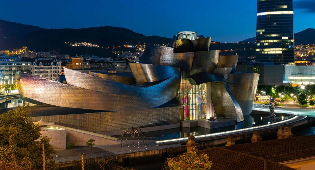 Guggenheim Museum in Bilbao is a modern and contemporary structure designed by Canadian-American architect Frank Gehr