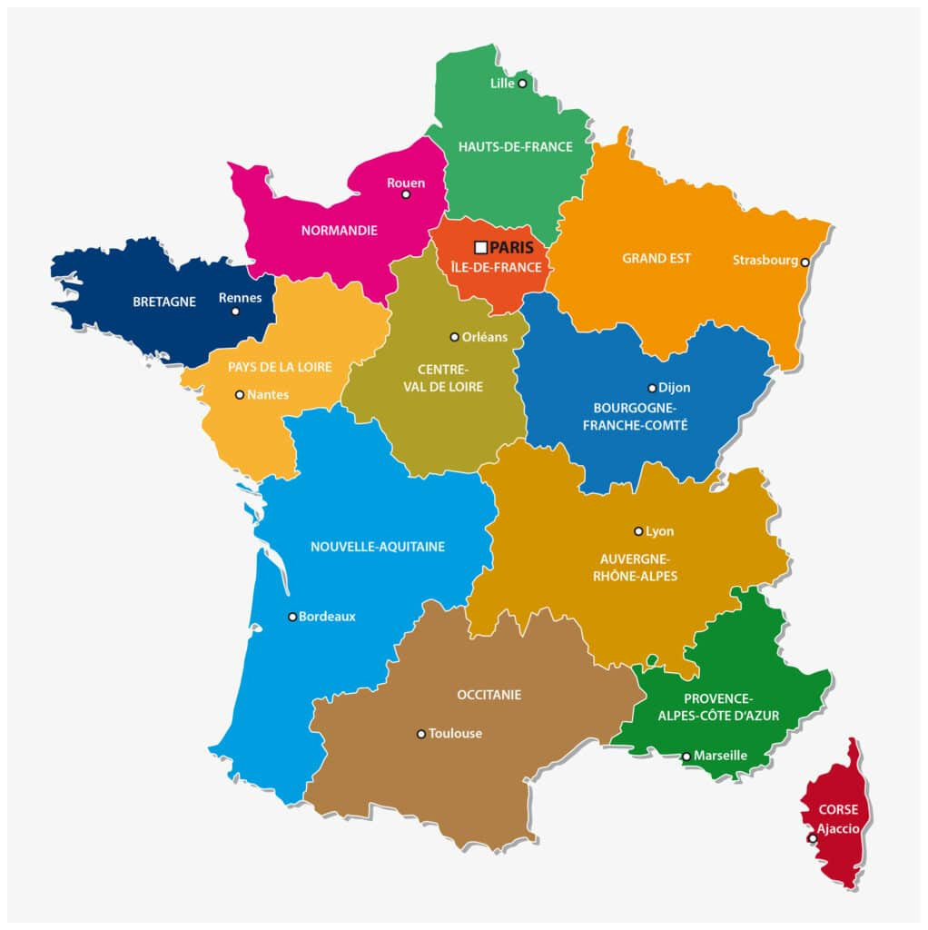 map of the 13 regions of france