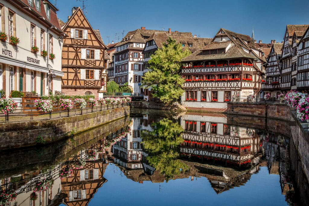 Reflection in picturesque Petite France, Strasbourg