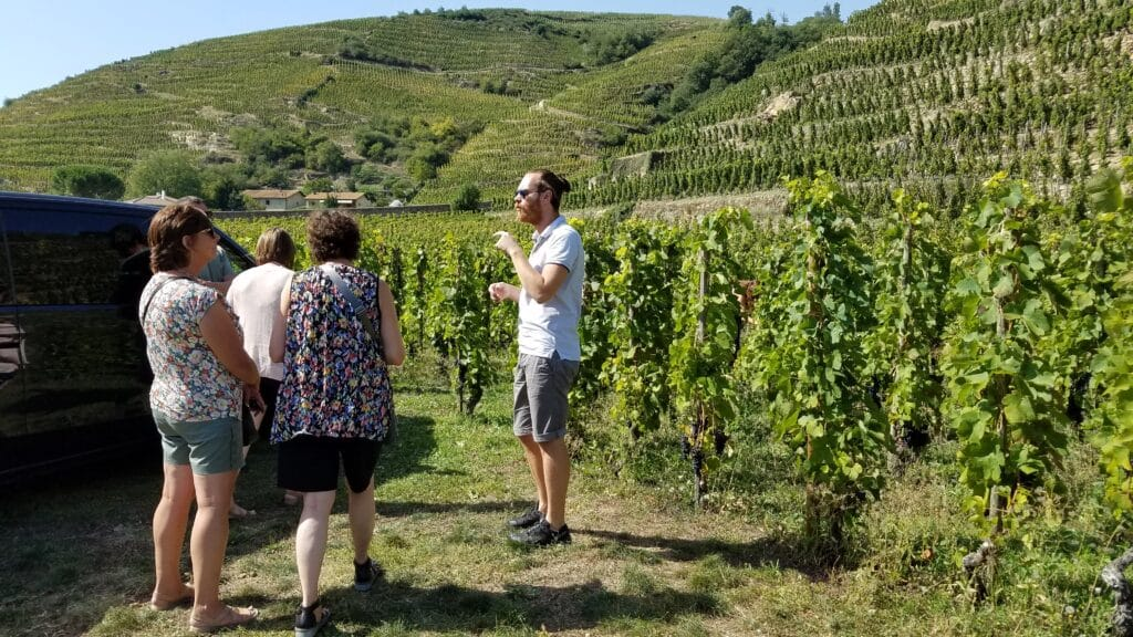 Vincent giving us a tour in the vineyards of the Côte-Rôtie followed by wine tasting